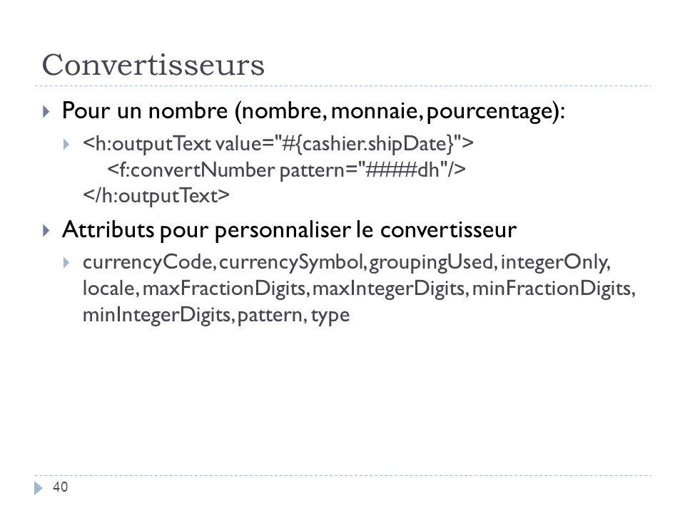 Convertisseurs Pour un nombre (nombre, monnaie, pourcentage): Attributs pour personnaliser le convertisseur currencyCode, currencySymbol, groupingUsed