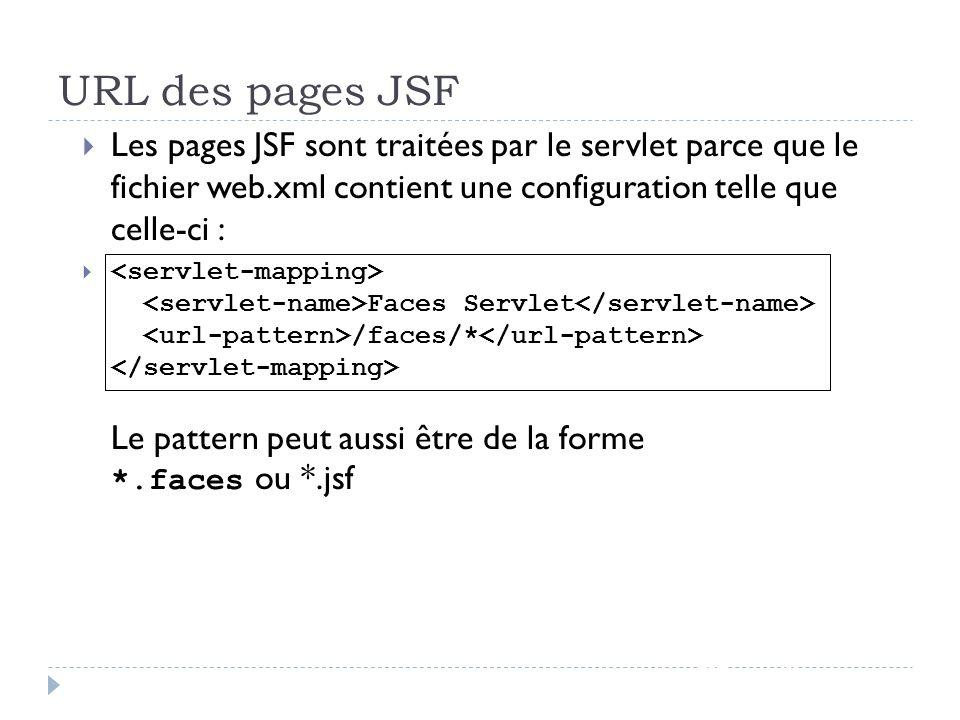 URL des pages JSF JSF - page 49 Les pages JSF sont traitées par le servlet parce que le fichier web.xml contient une configuration telle que celle-ci