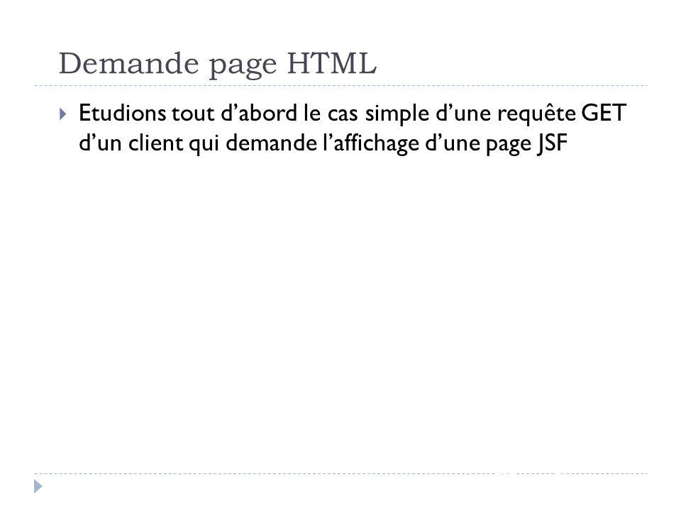 Demande page HTML JSF - page 53 Etudions tout dabord le cas simple dune requête GET dun client qui demande laffichage dune page JSF