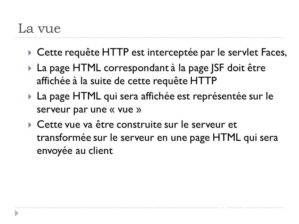 La vue JSF - page 54 Cette requête HTTP est interceptée par le servlet Faces, La page HTML correspondant à la page JSF doit être affichée à la suite d