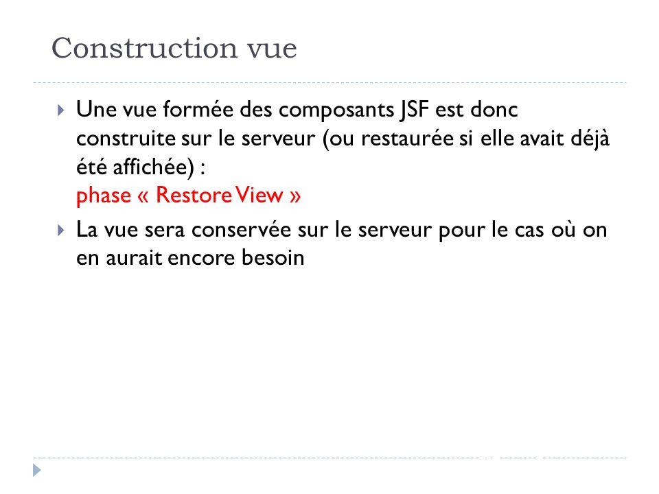 Construction vue JSF - page 56 Une vue formée des composants JSF est donc construite sur le serveur (ou restaurée si elle avait déjà été affichée) : p