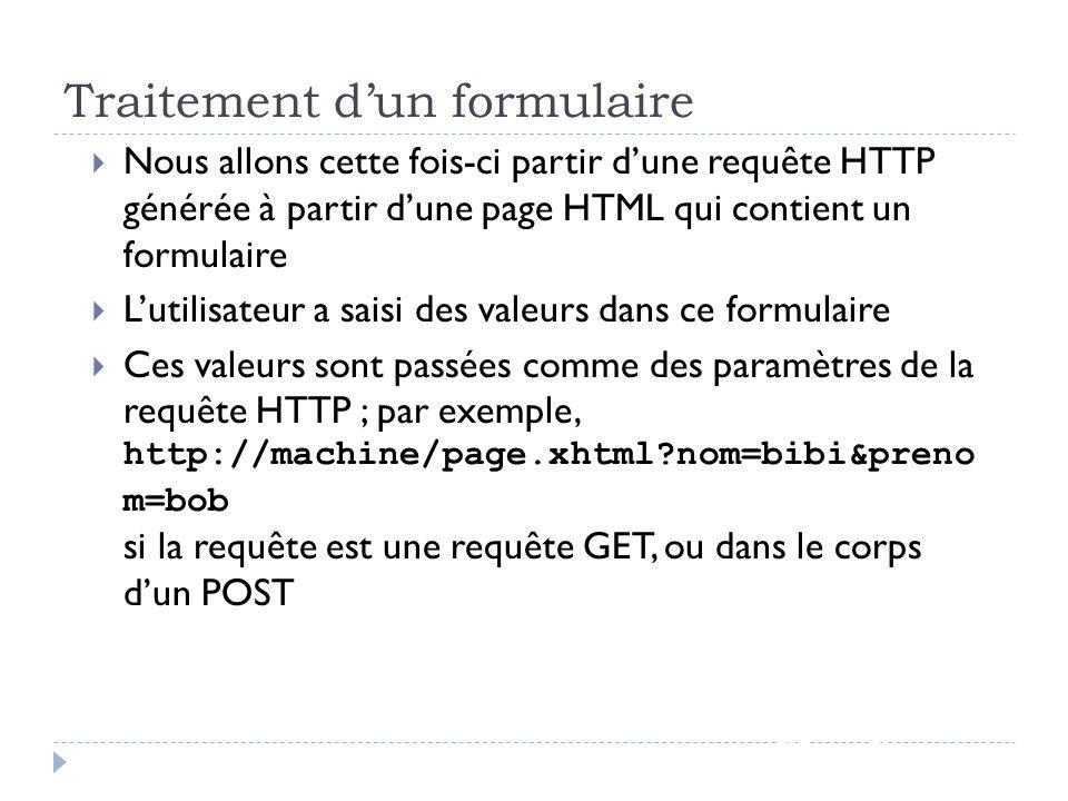 Traitement dun formulaire JSF - page 58 Nous allons cette fois-ci partir dune requête HTTP générée à partir dune page HTML qui contient un formulaire