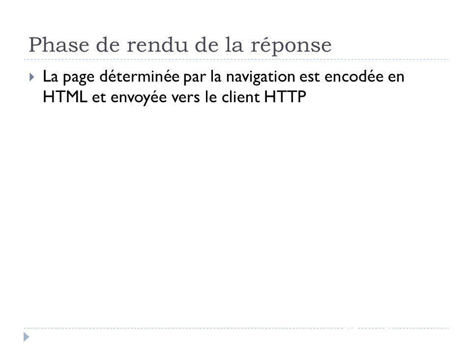 Phase de rendu de la réponse JSF - page 70 La page déterminée par la navigation est encodée en HTML et envoyée vers le client HTTP