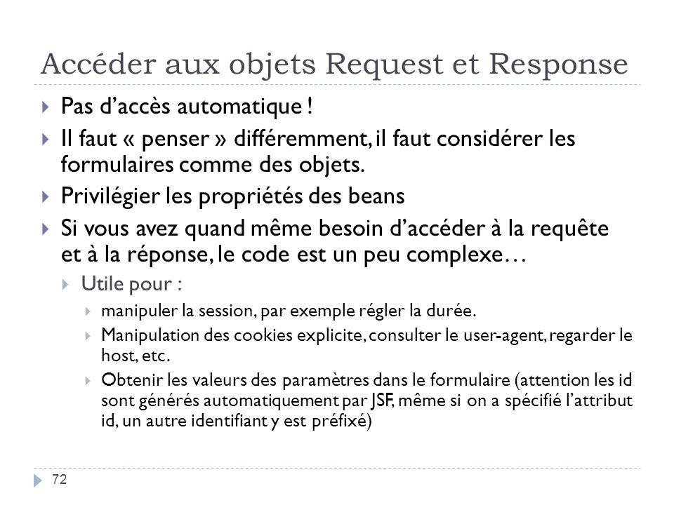 Accéder aux objets Request et Response Pas daccès automatique ! Il faut « penser » différemment, il faut considérer les formulaires comme des objets.