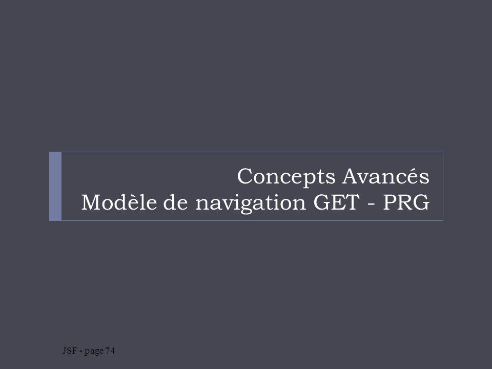 Concepts Avancés Modèle de navigation GET - PRG JSF - page 74