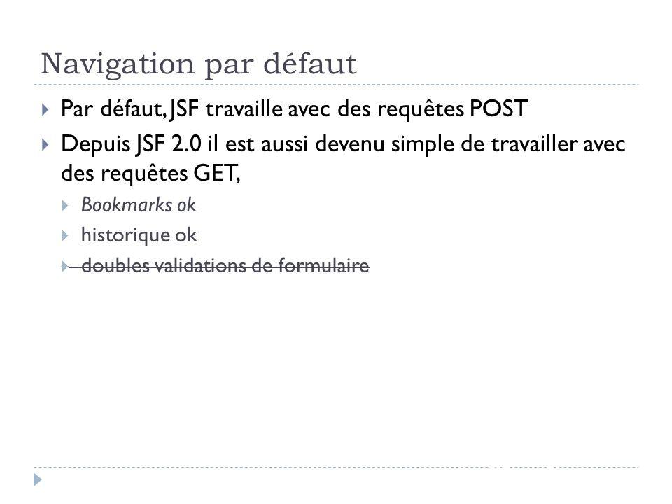 Navigation par défaut JSF - page 75 Par défaut, JSF travaille avec des requêtes POST Depuis JSF 2.0 il est aussi devenu simple de travailler avec des