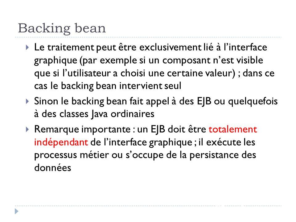 Backing bean JSF - page 8 Le traitement peut être exclusivement lié à linterface graphique (par exemple si un composant nest visible que si lutilisate