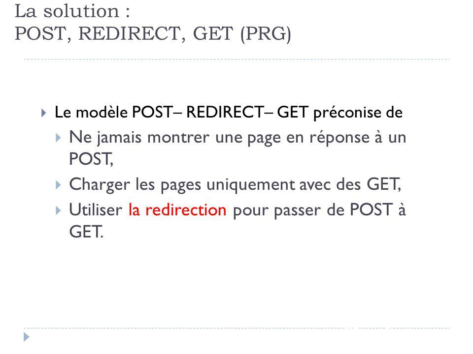 La solution : POST, REDIRECT, GET (PRG) JSF - page 80 Le modèle POST– REDIRECT– GET préconise de Ne jamais montrer une page en réponse à un POST, Char