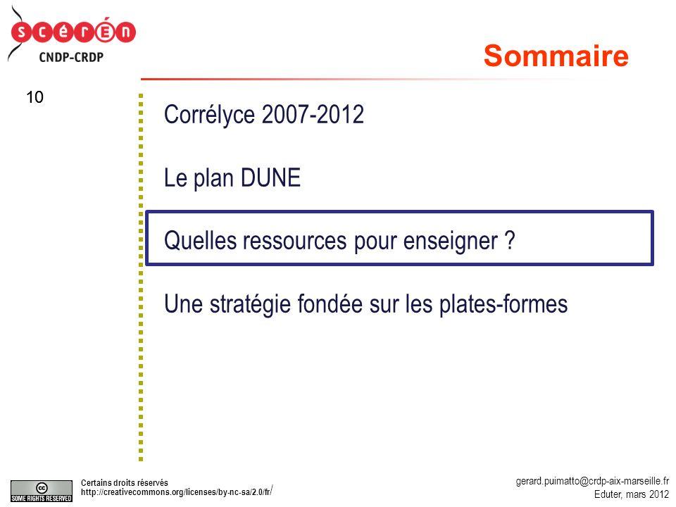 gerard.puimatto@crdp-aix-marseille.fr Eduter, mars 2012 Certains droits réservés http://creativecommons.org/licenses/by-nc-sa/2.0/fr / 10 Corrélyce 2007-2012 Le plan DUNE Quelles ressources pour enseigner .