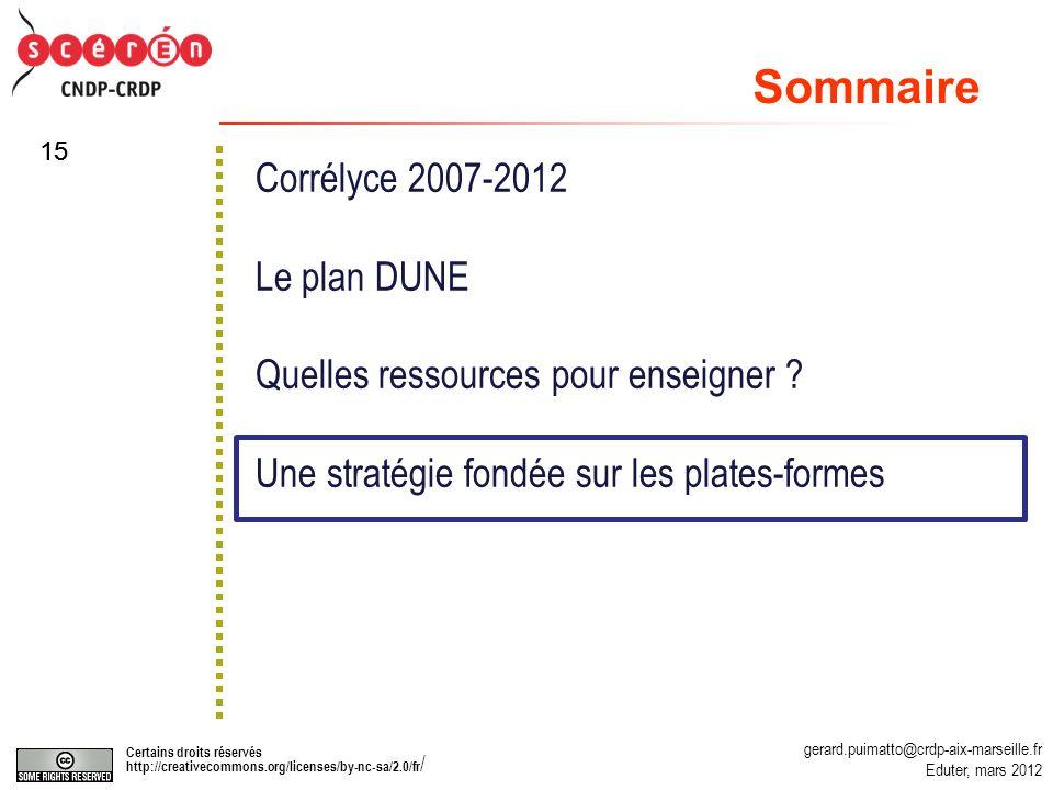 gerard.puimatto@crdp-aix-marseille.fr Eduter, mars 2012 Certains droits réservés http://creativecommons.org/licenses/by-nc-sa/2.0/fr / 15 Corrélyce 2007-2012 Le plan DUNE Quelles ressources pour enseigner .