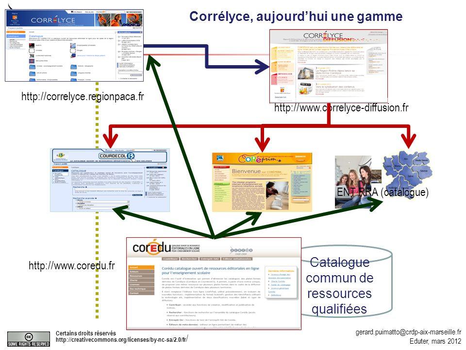 gerard.puimatto@crdp-aix-marseille.fr Eduter, mars 2012 Certains droits réservés http://creativecommons.org/licenses/by-nc-sa/2.0/fr / 44 http://correlyce.regionpaca.fr http://www.correlyce-diffusion.fr Catalogue commun de ressources qualifiées http://www.coredu.fr http://www.courdecol13.org ENT RRA (catalogue) Corrélyce, aujourdhui une gamme