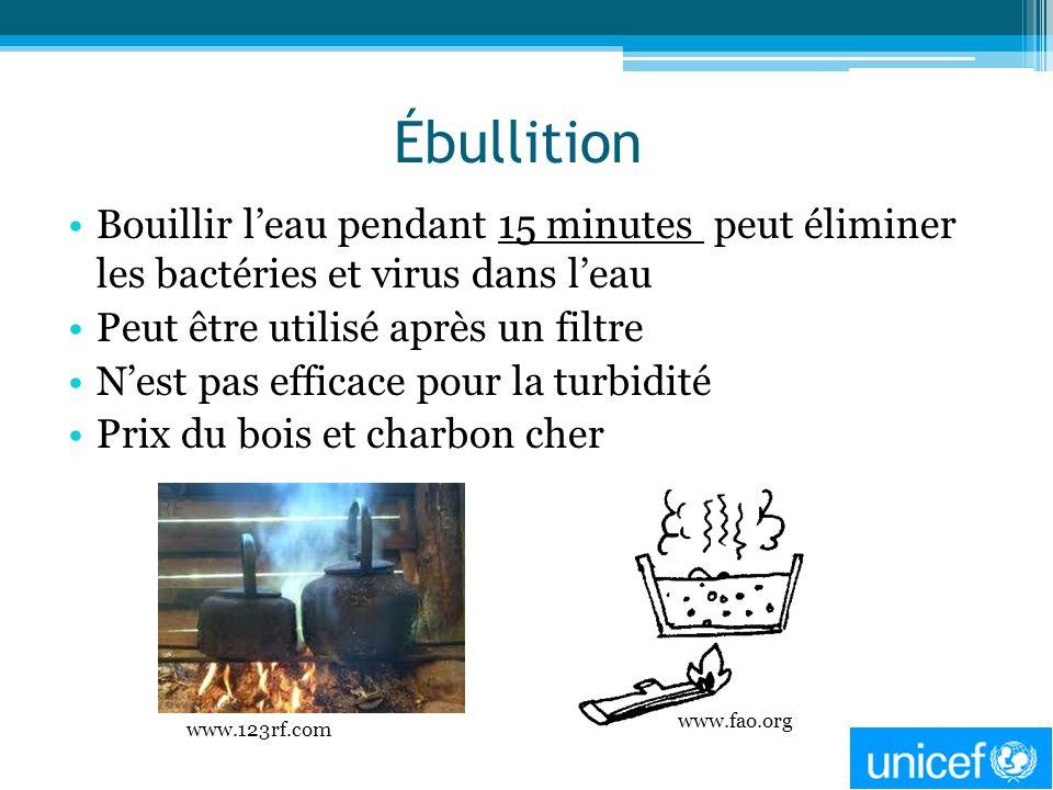 Ébullition Bouillir leau pendant 15 minutes peut éliminer les bactéries et virus dans leau Peut être utilisé après un filtre Nest pas efficace pour la