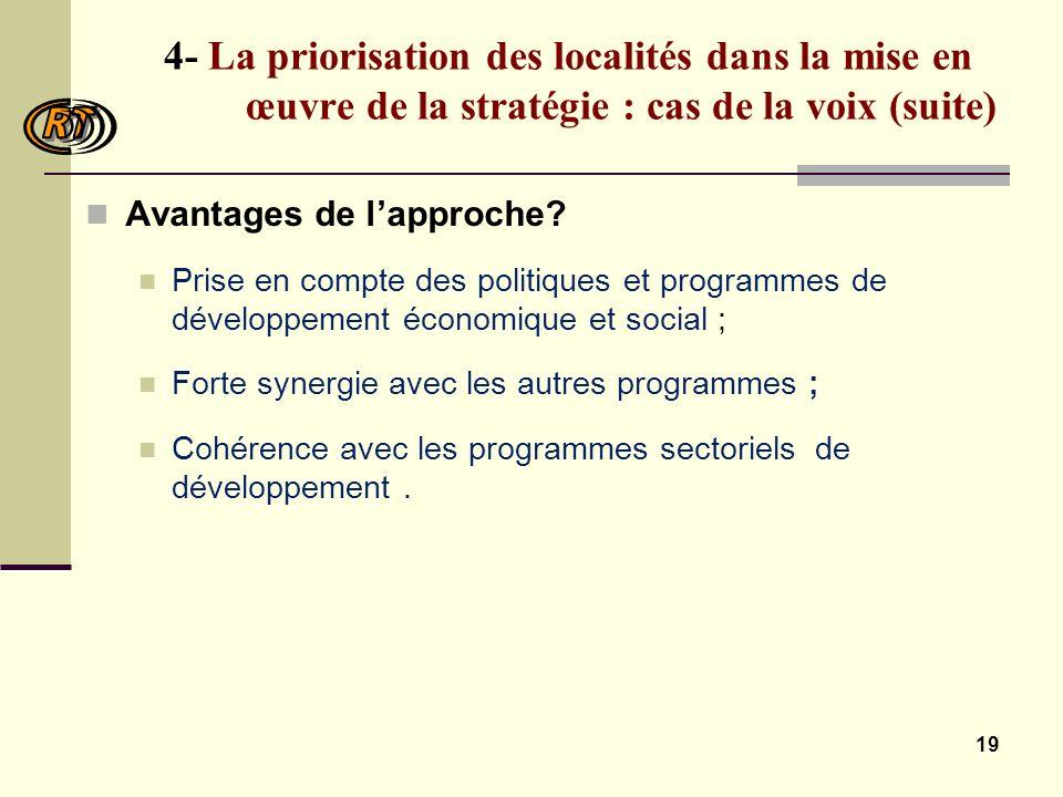 19 4- La priorisation des localités dans la mise en œuvre de la stratégie : cas de la voix (suite) Avantages de lapproche.