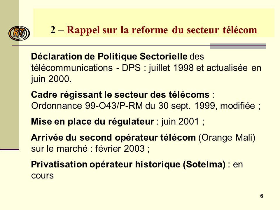 6 2 – Rappel sur la reforme du secteur télécom Déclaration de Politique Sectorielle des télécommunications - DPS : juillet 1998 et actualisée en juin 2000.