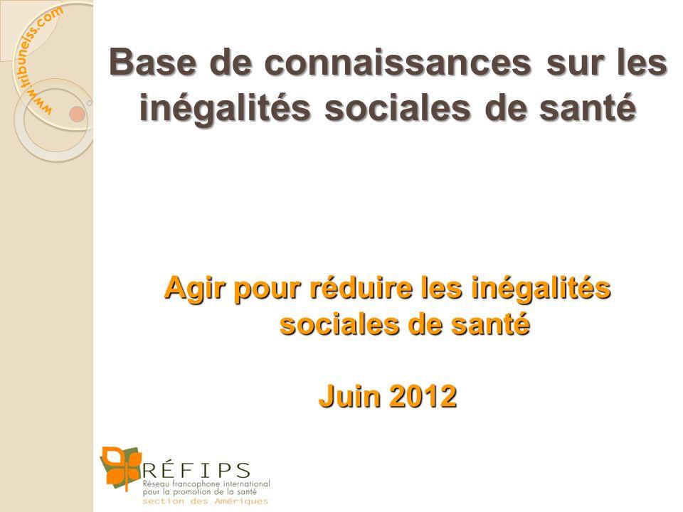 Base de connaissances sur les inégalités sociales de santé Agir pour réduire les inégalités sociales de santé Juin 2012