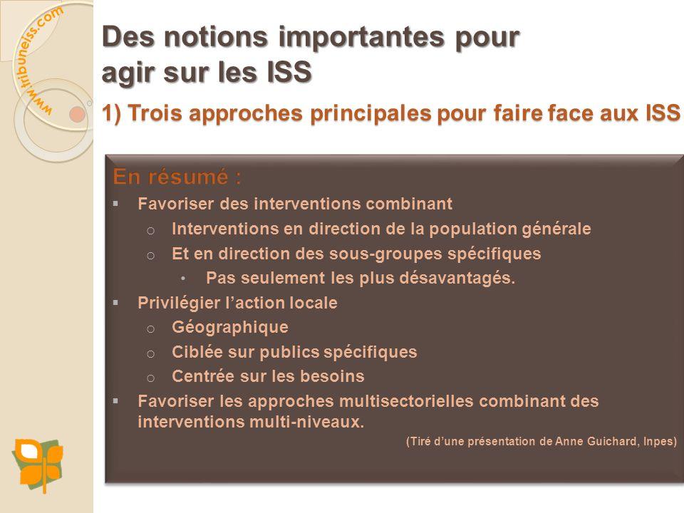 1) Trois approches principales pour faire face aux ISS Des notions importantes pour agir sur les ISS