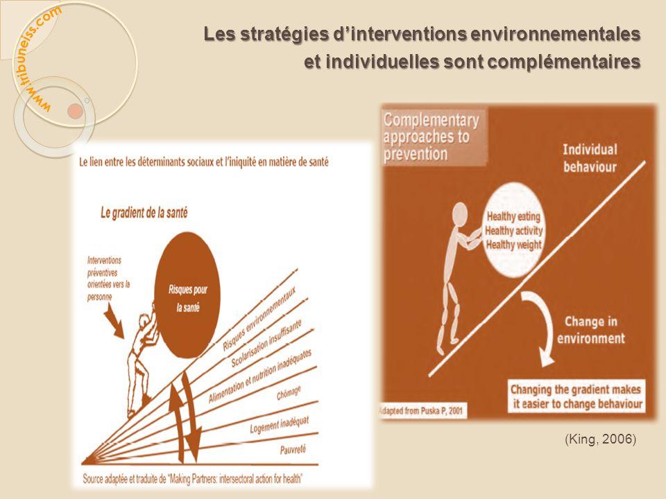 Les stratégies dinterventions environnementales et individuelles sont complémentaires et individuelles sont complémentaires (King, 2006)