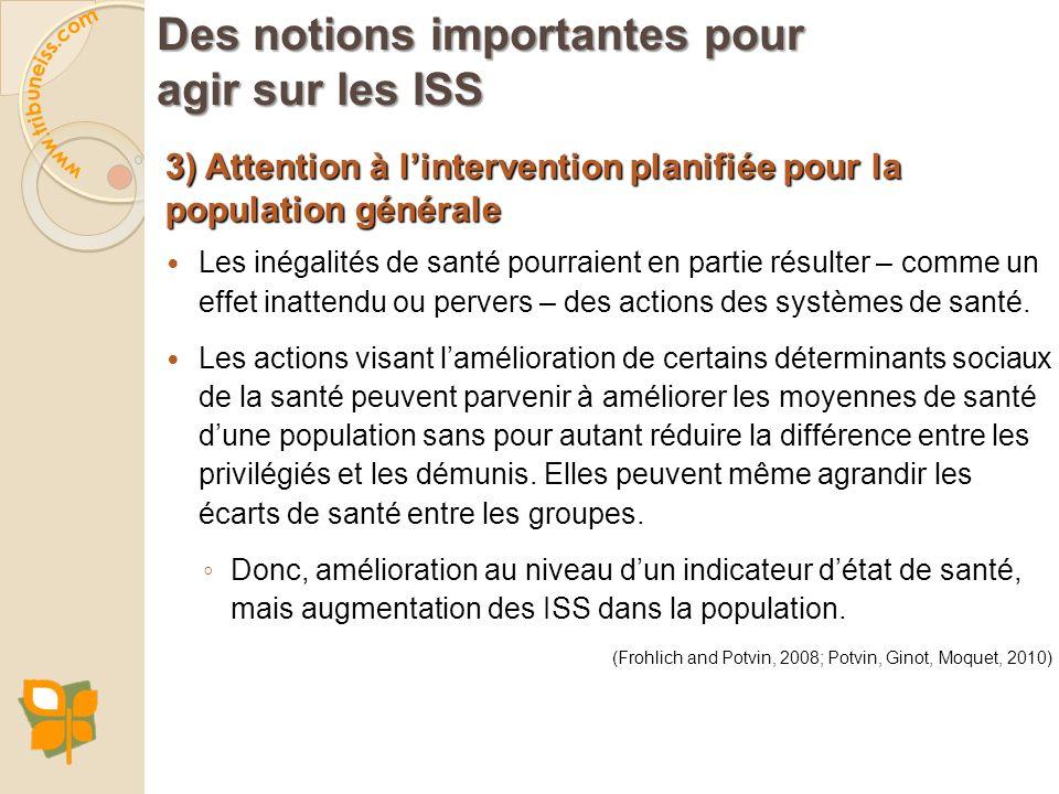 3) Attention à lintervention planifiée pour la population générale Les inégalités de santé pourraient en partie résulter – comme un effet inattendu ou