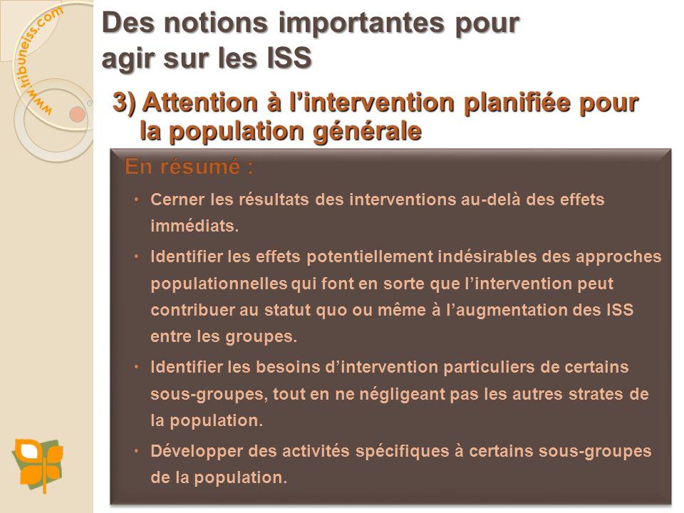 3) Attention à lintervention planifiée pour la population générale Des notions importantes pour agir sur les ISS
