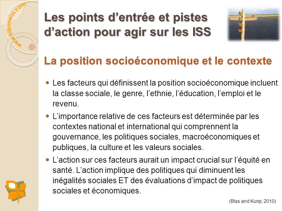 La position socioéconomique et le contexte Les facteurs qui définissent la position socioéconomique incluent la classe sociale, le genre, lethnie, léd