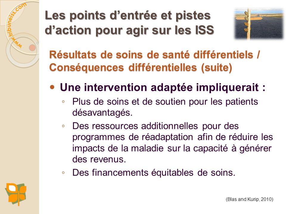 Résultats de soins de santé différentiels / Conséquences différentielles (suite) Une intervention adaptée impliquerait : Plus de soins et de soutien p