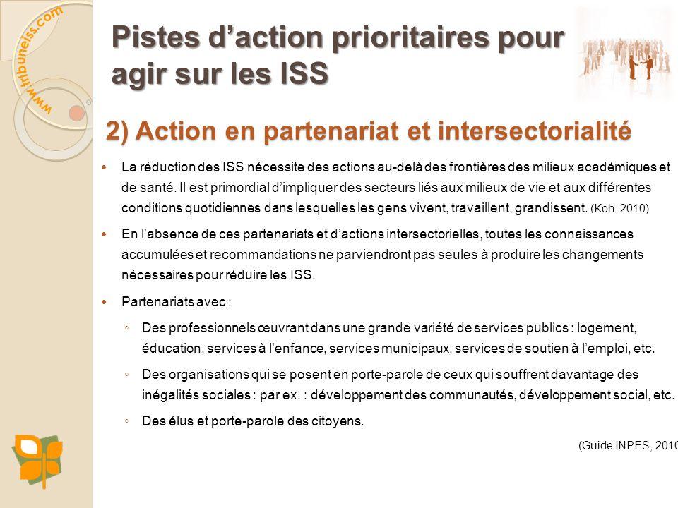 Pistes daction prioritaires pour agir sur les ISS 2) Action en partenariat et intersectorialité La réduction des ISS nécessite des actions au-delà des