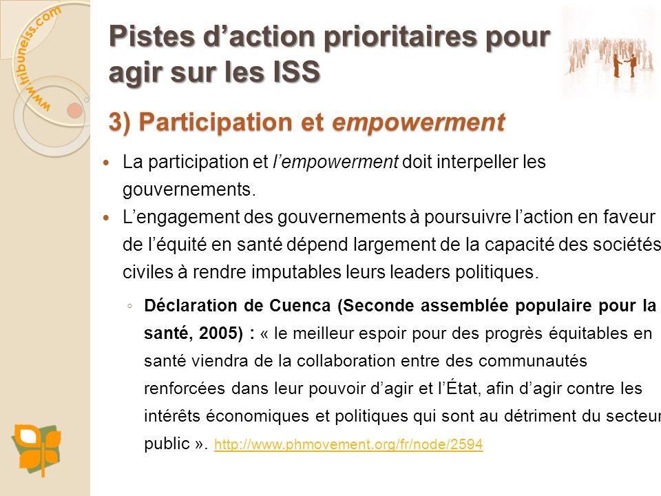 3) Participation et empowerment Pistes daction prioritaires pour agir sur les ISS La participation et lempowerment doit interpeller les gouvernements.