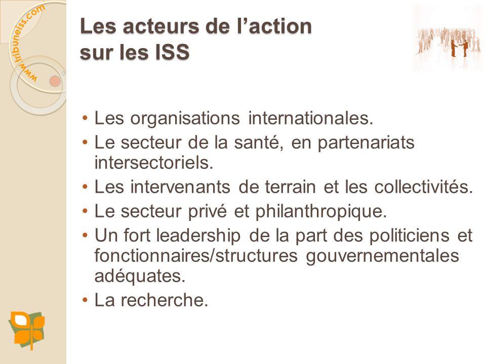 Les acteurs de laction sur les ISS Les organisations internationales. Le secteur de la santé, en partenariats intersectoriels. Les intervenants de ter