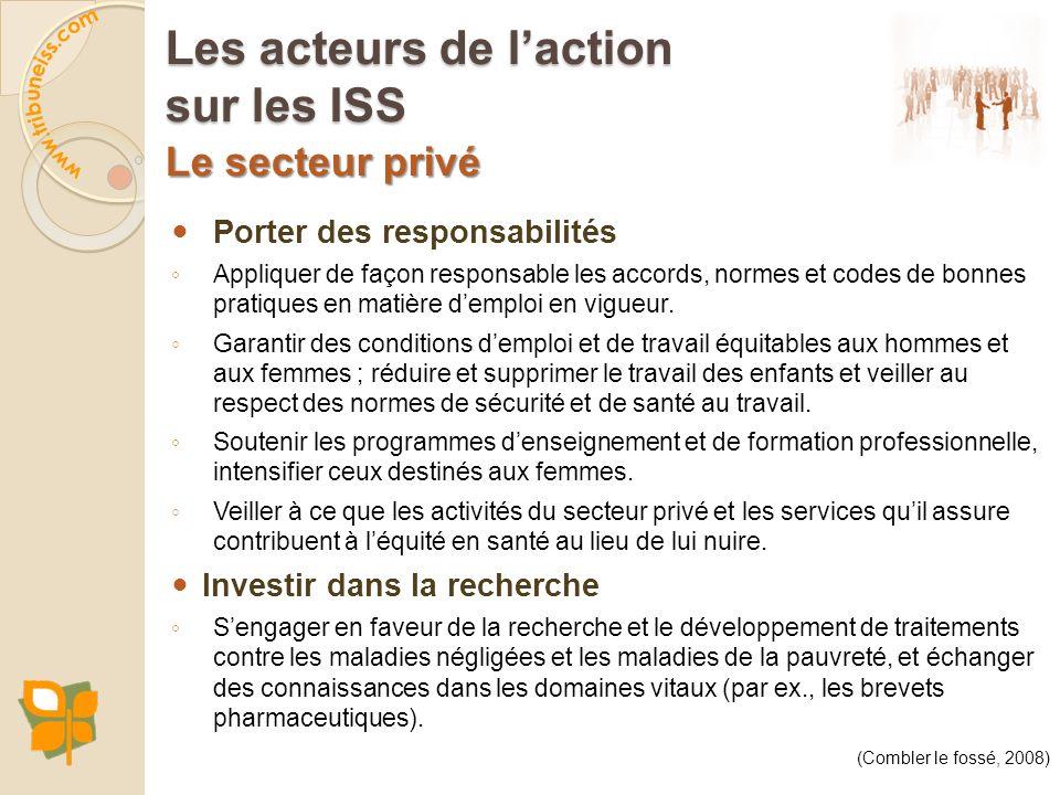 Le secteur privé Porter des responsabilités Appliquer de façon responsable les accords, normes et codes de bonnes pratiques en matière demploi en vigu