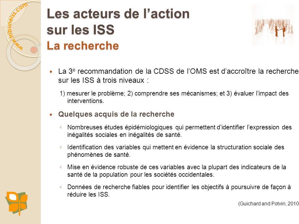 La recherche La 3 e recommandation de la CDSS de lOMS est daccroître la recherche sur les ISS à trois niveaux : 1) mesurer le problème; 2) comprendre
