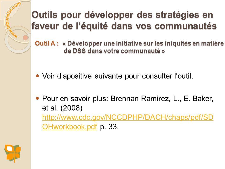 Outil A : « Développer une initiative sur les iniquités en matière de DSS dans votre communauté » Voir diapositive suivante pour consulter loutil. Pou