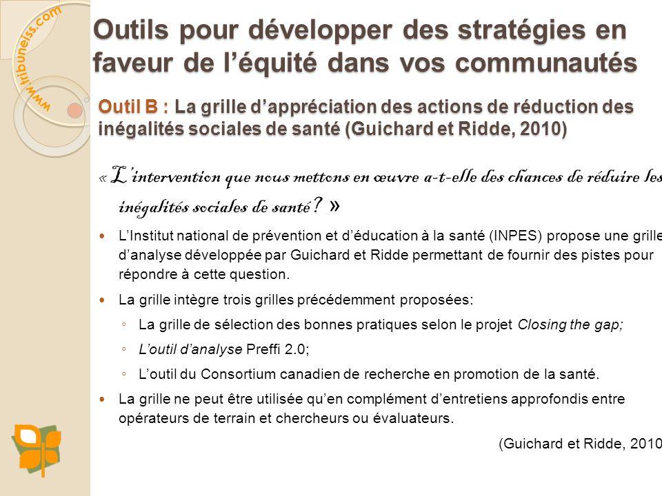 Outil B : La grille dappréciation des actions de réduction des inégalités sociales de santé (Guichard et Ridde, 2010) « Lintervention que nous mettons