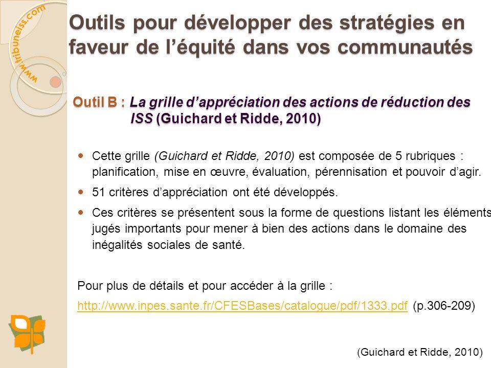 Outil B : La grille dappréciation des actions de réduction des ISS (Guichard et Ridde, 2010) Cette grille (Guichard et Ridde, 2010) est composée de 5