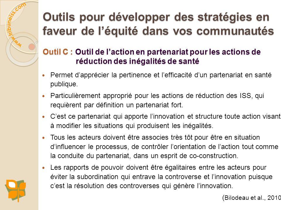 Outil C : Outil de laction en partenariat pour les actions de réduction des inégalités de santé Permet dapprécier la pertinence et lefficacité dun par