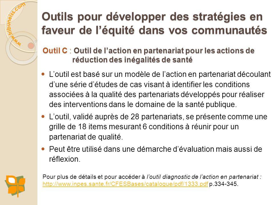 Outil C : Outil de laction en partenariat pour les actions de réduction des inégalités de santé Loutil est basé sur un modèle de laction en partenaria