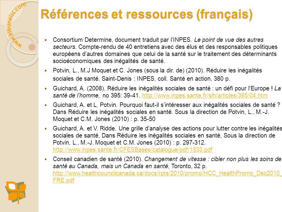 Références et ressources (français) Consortium Determine, document traduit par lINPES. Le point de vue des autres secteurs. Compte-rendu de 40 entreti