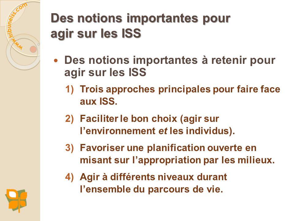 Des notions importantes pour agir sur les ISS Des notions importantes à retenir pour agir sur les ISS 1)Trois approches principales pour faire face au