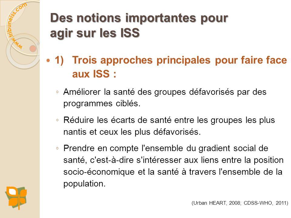 1) Trois approches principales pour faire face aux ISS : Améliorer la santé des groupes défavorisés par des programmes ciblés. Réduire les écarts de s