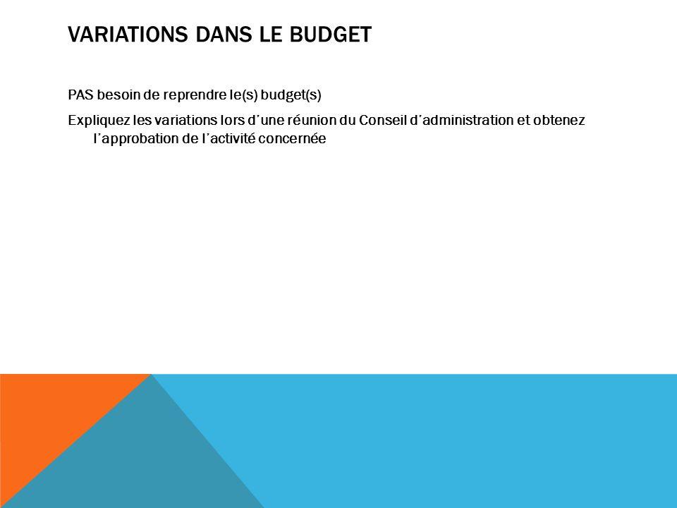 VARIATIONS DANS LE BUDGET PAS besoin de reprendre le(s) budget(s) Expliquez les variations lors dune réunion du Conseil dadministration et obtenez lapprobation de lactivité concernée