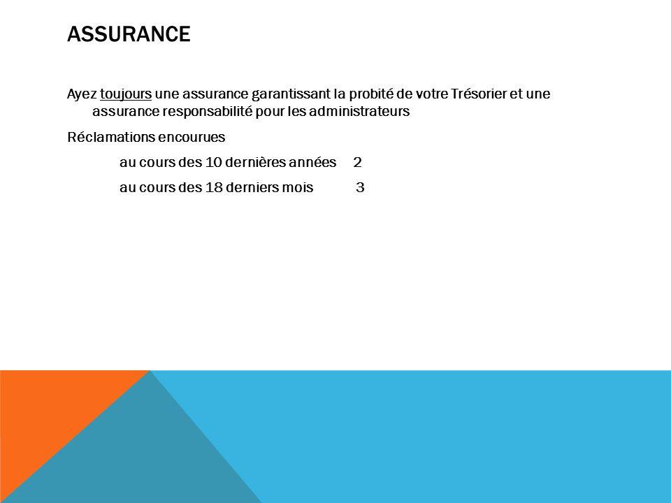 ASSURANCE Ayez toujours une assurance garantissant la probité de votre Trésorier et une assurance responsabilité pour les administrateurs Réclamations encourues au cours des 10 dernières années 2 au cours des 18 derniers mois 3