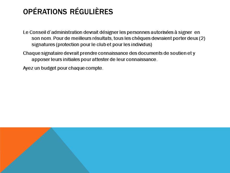 OPÉRATIONS RÉGULIÈRES Le Conseil dadministration devrait désigner les personnes autorisées à signer en son nom.