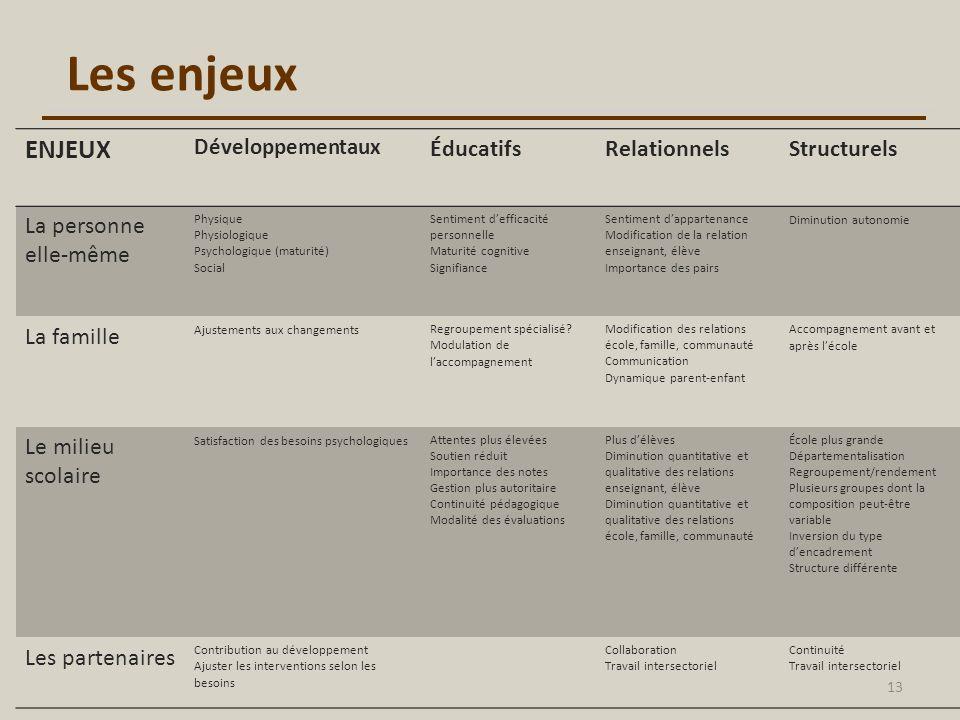 Les enjeux ENJEUX Développementaux ÉducatifsRelationnelsStructurels La personne elle-même Physique Physiologique Psychologique (maturité) Social Senti