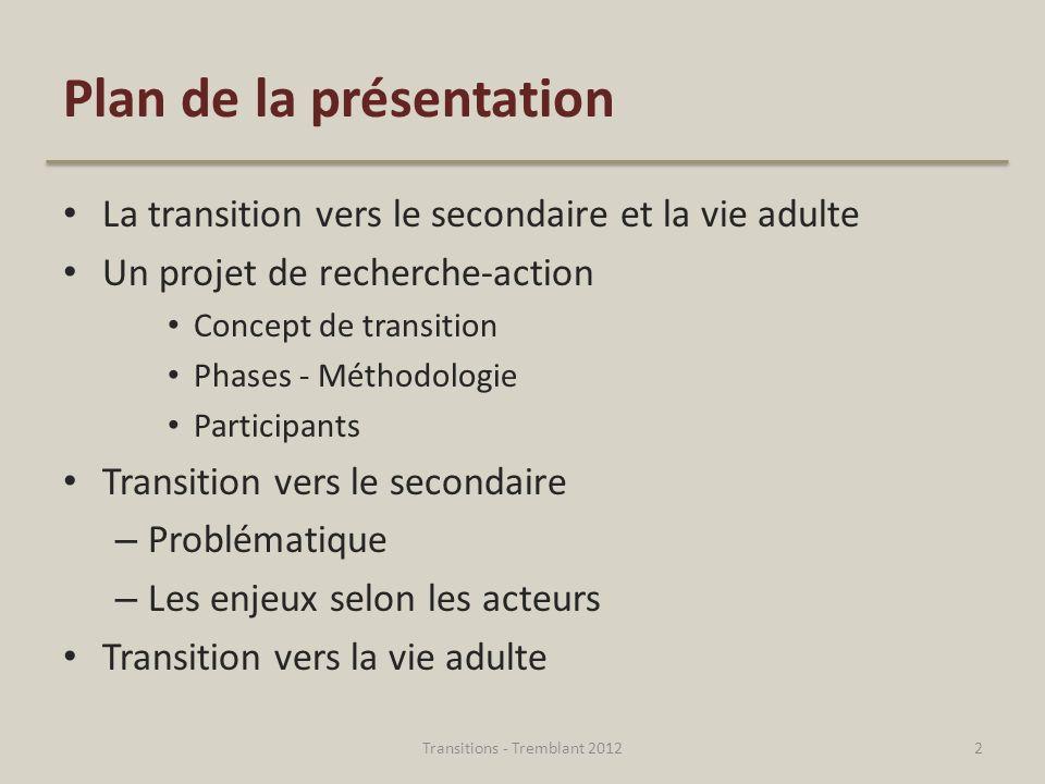 Plan de la présentation La transition vers le secondaire et la vie adulte Un projet de recherche-action Concept de transition Phases - Méthodologie Pa
