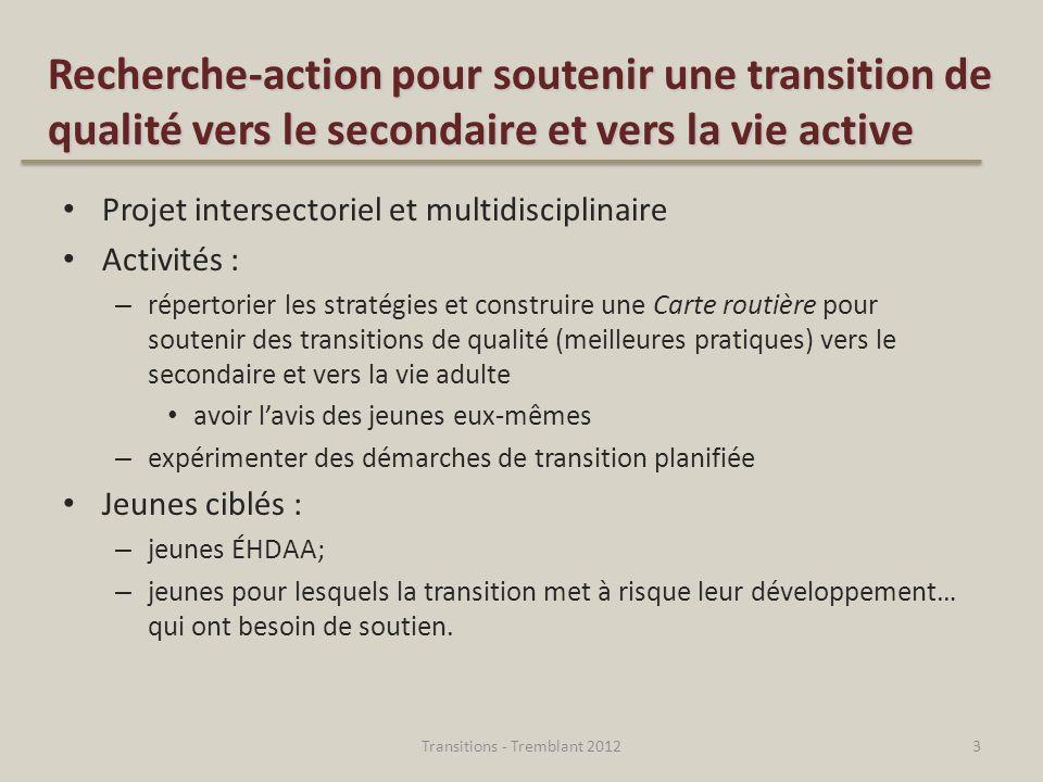 Recherche-action pour soutenir une transition de qualité vers le secondaire et vers la vie active Projet intersectoriel et multidisciplinaire Activité