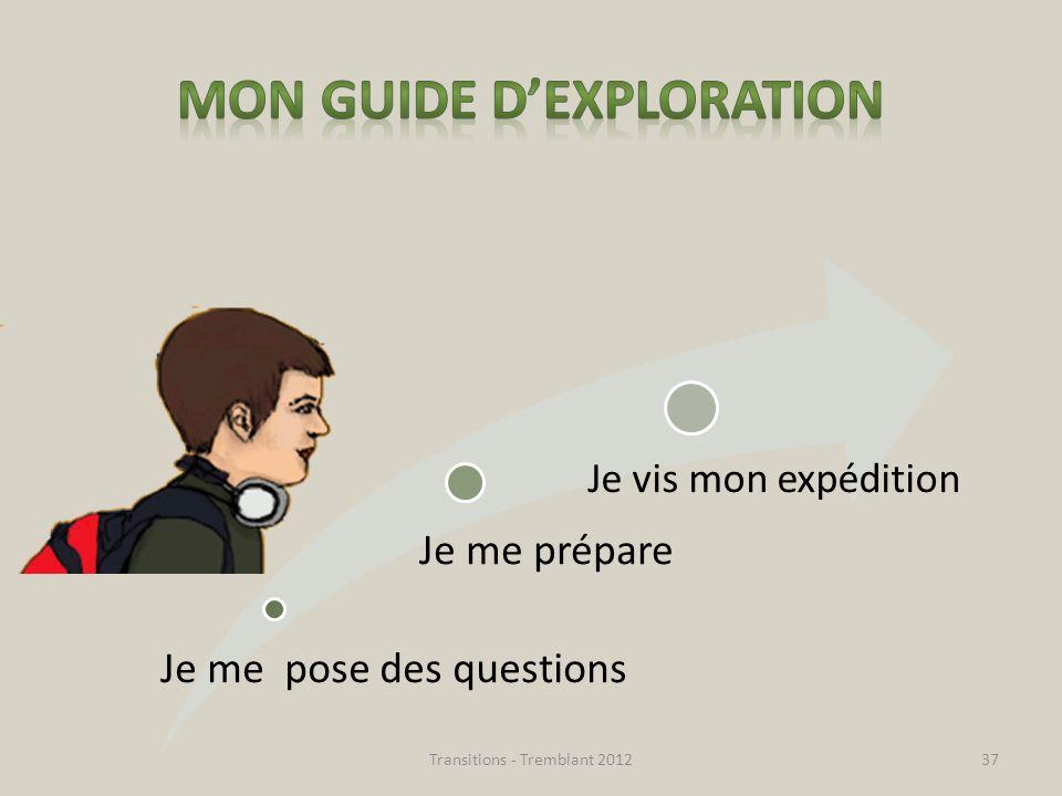 Je me pose des questions Je me prépare Je vis mon expédition Transitions - Tremblant 201237