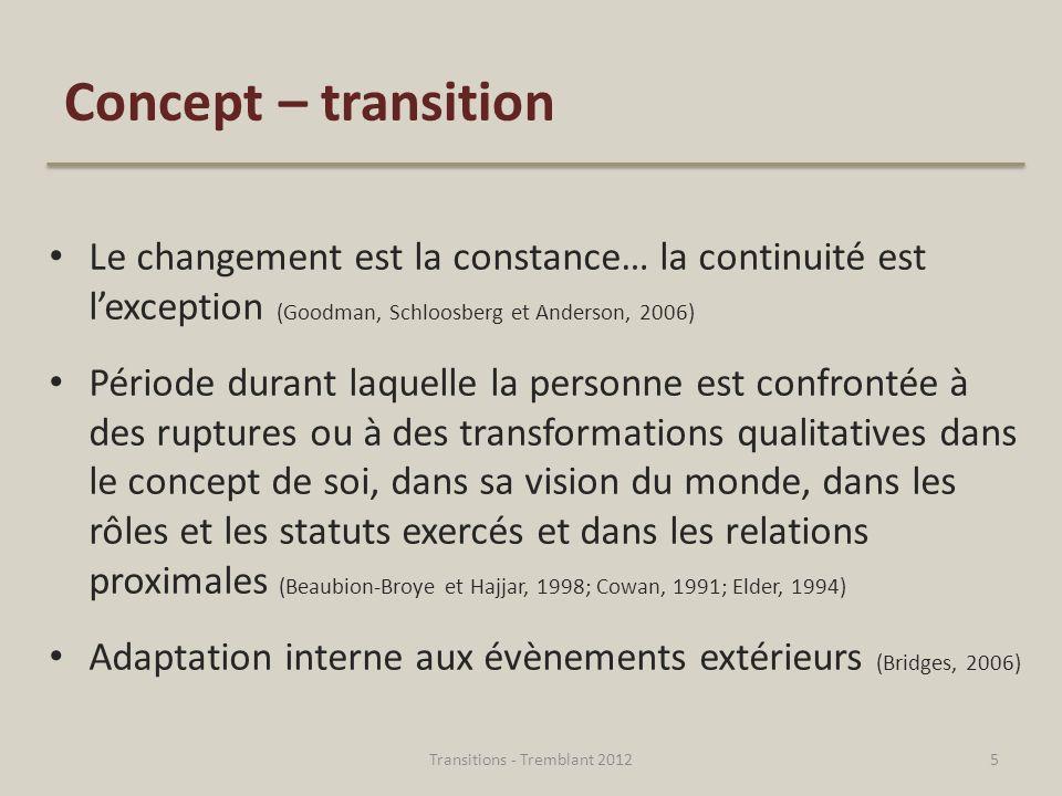 5 Concept – transition Le changement est la constance… la continuité est lexception (Goodman, Schloosberg et Anderson, 2006) Période durant laquelle l