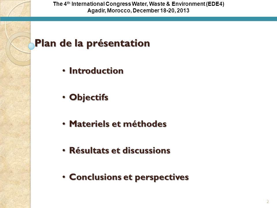 The 4 th International Congress Water, Waste & Environment (EDE4) Agadir, Morocco, December 18-20, 2013 Résultats et discussions Influence de la concentration en peroxyde dhydrogène C 6 H 5 OH + 14 H 2 O 2 6 CO 2 + 17 H 2 O Fig.