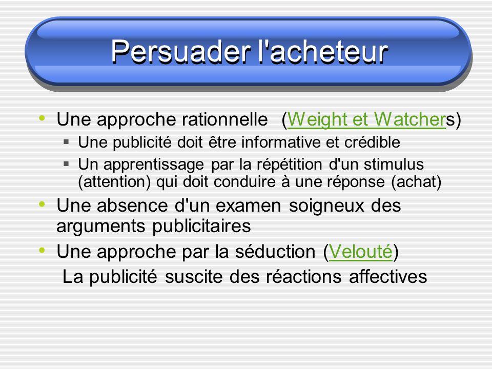 Persuader l'acheteur Une approche rationnelle (Weight et Watchers)Weight et Watcher Une publicité doit être informative et crédible Un apprentissage p