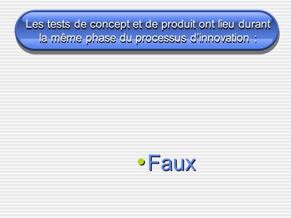 Les tests de concept et de produit ont lieu durant la même phase du processus dinnovation : Faux