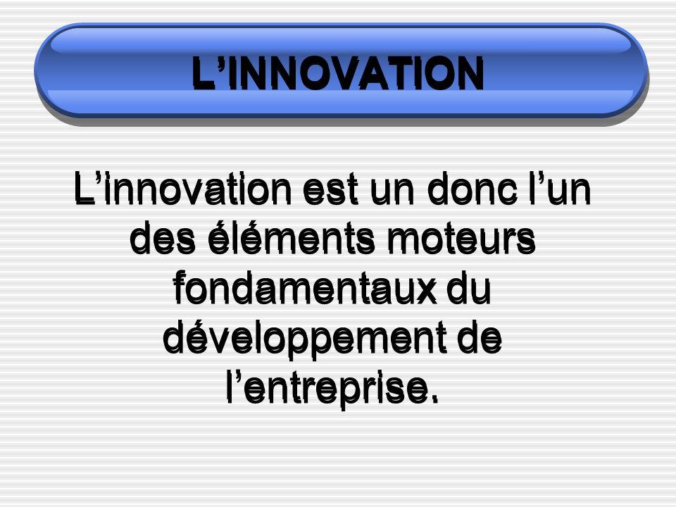 LINNOVATION Linnovation est un donc lun des éléments moteurs fondamentaux du développement de lentreprise.